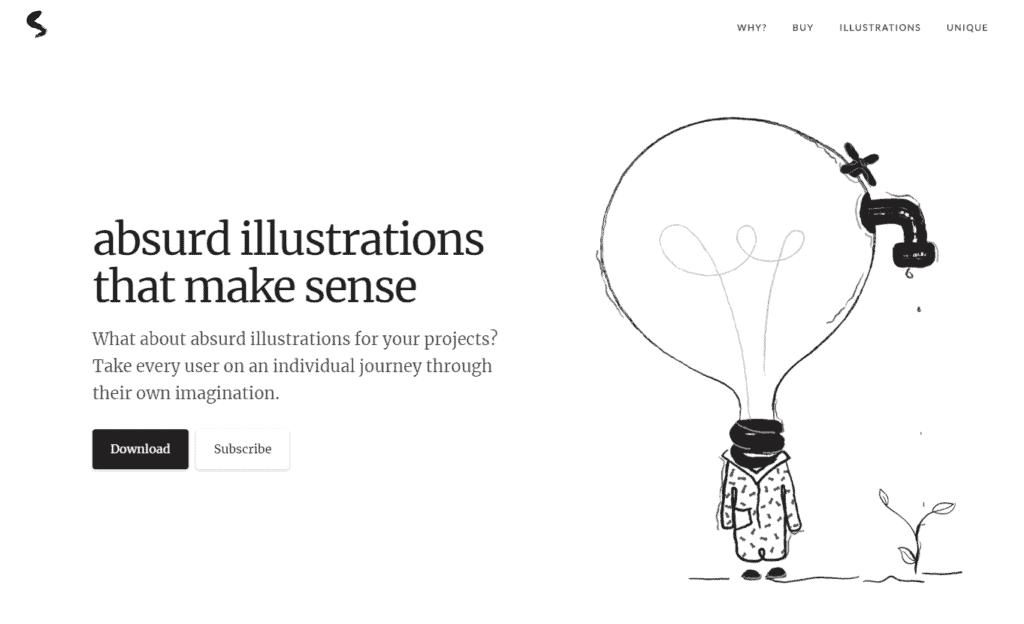 Absurd illustration uses in Web Designing