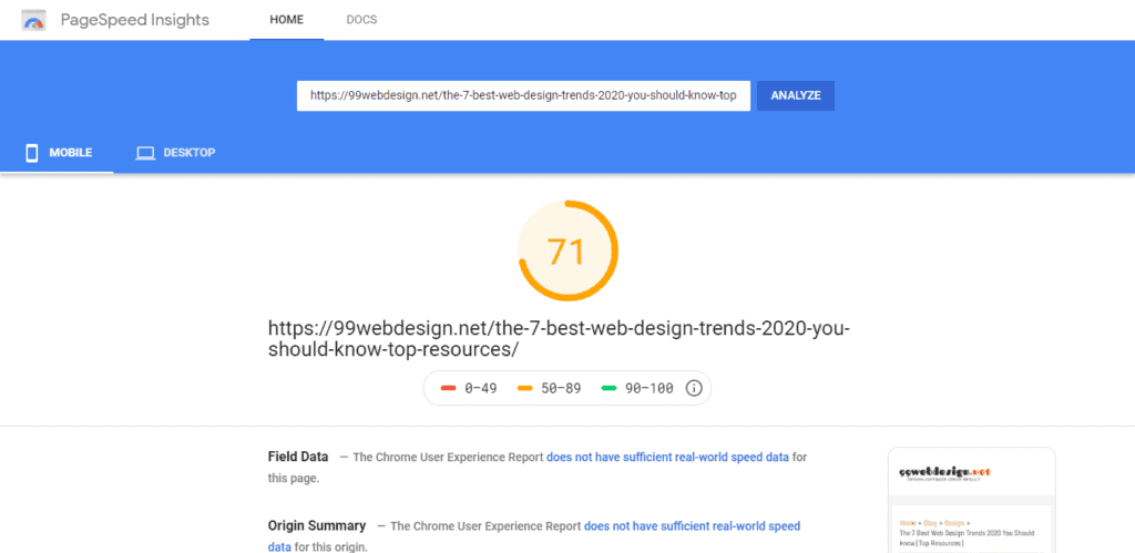 Google Page Speed on Mobile for 99webdesign