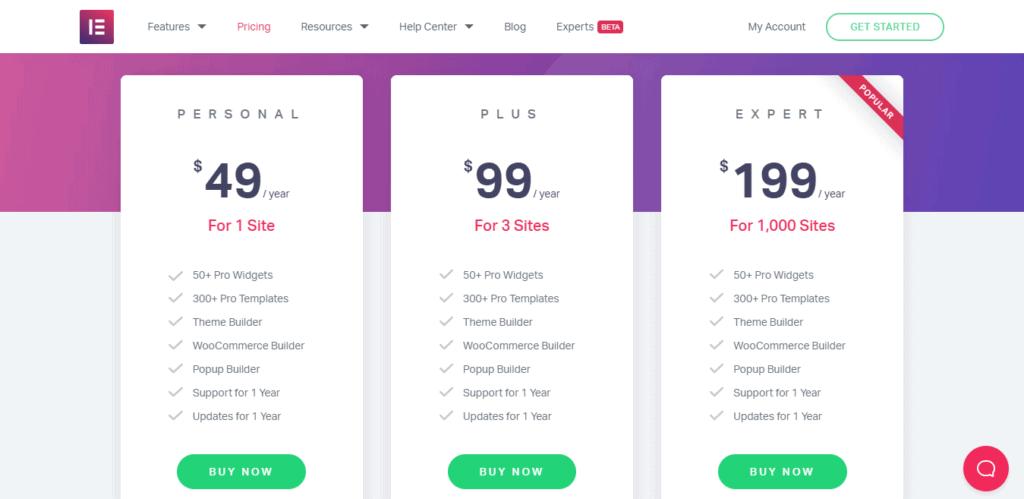Elementor Pro pricing plan